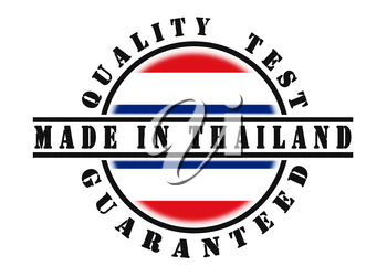 Quality test guaranteed stamp with a national flag inside, Thailand
