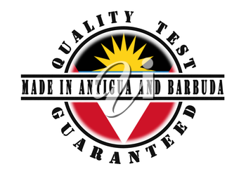 Quality test guaranteed stamp with a national flag inside, Antigua and Barbuda
