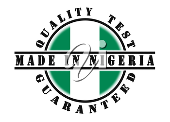 Quality test guaranteed stamp with a national flag inside, Nigeria