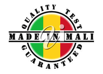 Quality test guaranteed stamp with a national flag inside, Mali