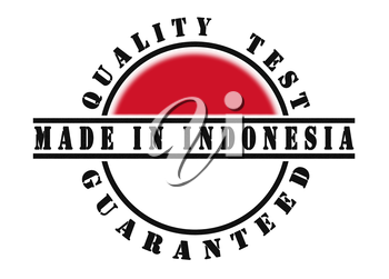 Quality test guaranteed stamp with a national flag inside, Indonesia