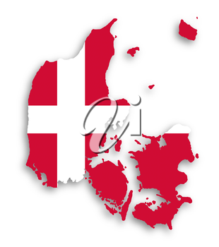 Map of Denmark filled with flag of the state, isolated