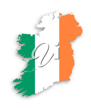 Map of Ireland with flag inside, isolated