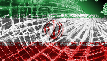 Isolated broken glass or ice with a flag, Iran