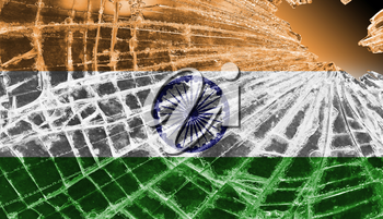 Isolated broken glass or ice with a flag, India