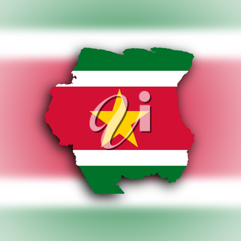 Country shape outlined and filled with the flag, Suriname