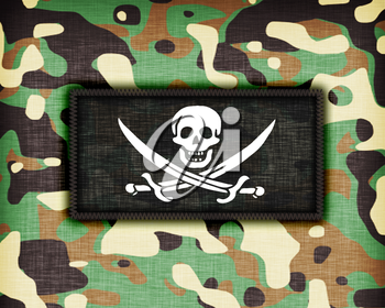 Amy camouflage uniform with flag on it, Pirate