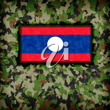 Amy camouflage uniform with flag on it, Laos