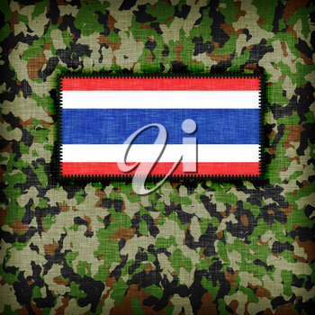 Amy camouflage uniform with flag on it, Thailand