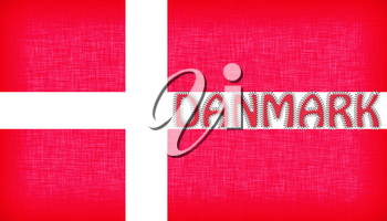 Flag of Denmark stitched with letters, isolated