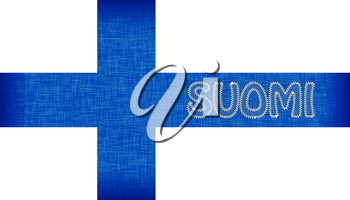 Flag of Finland stitched with letters, isolated
