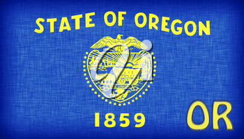 Linen flag of the US state of Oregon with it's abbreviation stitched on it