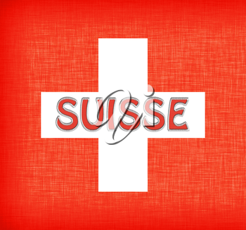Linen flag of Switzerland with letters stitched on it