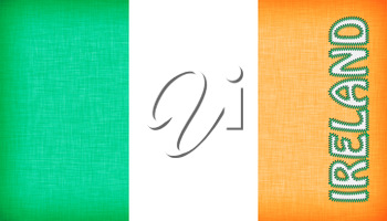 Flag of Ireland stitched with letters, isolated