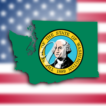 Map of Washington, filled with the state flag