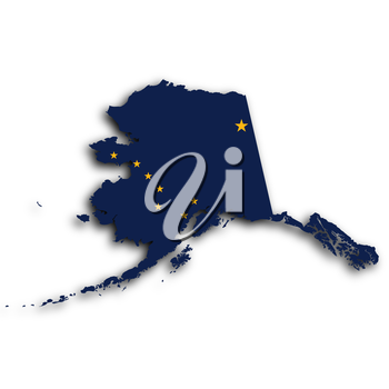 Map of Alaska, filled with the state flag