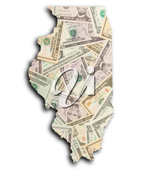Map of Illinois, filled with US dollars