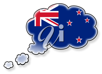Flag in the cloud, isolated on white background, flag of New Zealand