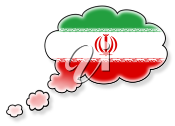 Flag in the cloud, isolated on white background, flag of Iran
