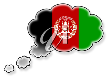 Flag in the cloud, isolated on white background, flag of Afghanistan