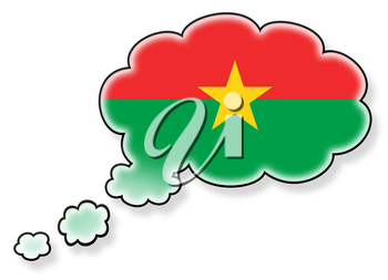 Flag in the cloud, isolated on white background, flag of Burkina Faso