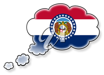 Flag in the cloud, isolated on white background, flag of Missouri