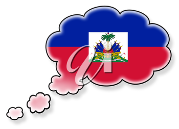 Flag in the cloud, isolated on white background, flag of Haiti