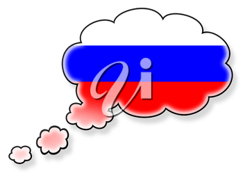 Flag in the cloud, isolated on white background, flag of Russia