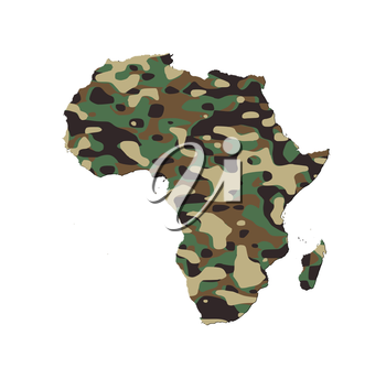 Africa - Map, filled with an army camo pattern