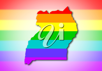Uganda - Map, filled with a rainbow flag pattern