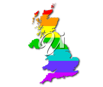United Kingdom - Map, filled with a rainbow flag pattern