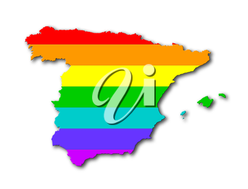 Spain - Map, filled with a rainbow flag pattern