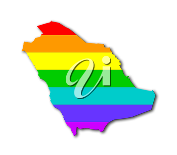 Saudi Arabia - Map, filled with a rainbow flag pattern
