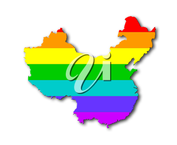 China - Map, filled with a rainbow flag pattern