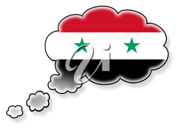 Flag in the cloud, isolated on white background, flag of Syria