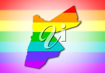 Jordan - Map, filled with a rainbow flag pattern