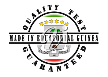 Quality test guaranteed stamp with a national flag inside, Equatorial Guinea