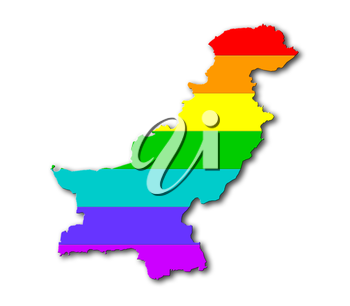 Map, filled with a rainbow flag pattern - Pakistan