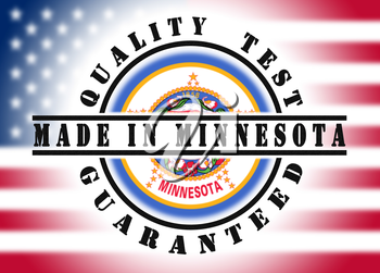 Quality test guaranteed stamp with a state flag inside, Minnesota