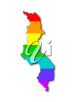 Malawi - Map, filled with a rainbow flag pattern