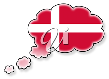 Flag in the cloud, isolated on white background, flag of Denmark
