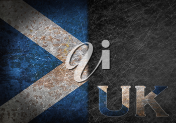Old rusty metal sign with a flag and country abbreviation - Scotland