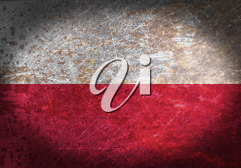 Old rusty metal sign with a flag - Poland