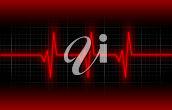 Electrocardiogram - Concept of healthcare, heartbeat shown on monitor - red