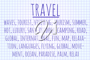 Travel word cloud written on a piece of paper