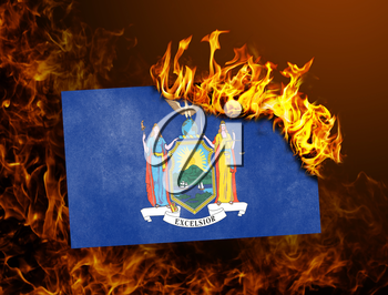 Flag burning - concept of war or crisis - New York