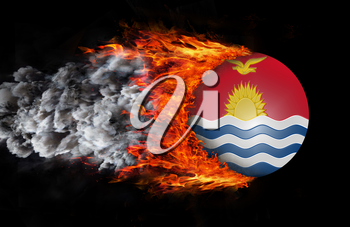 Concept of speed - Flag with a trail of fire and smoke - Kiribati