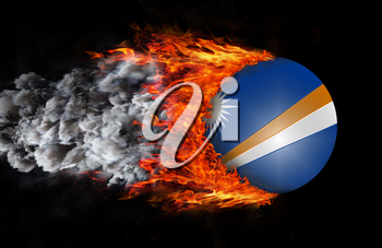 Concept of speed - Flag with a trail of fire and smoke - Marshall Islands