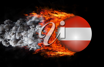 Concept of speed - Flag with a trail of fire and smoke - Austria