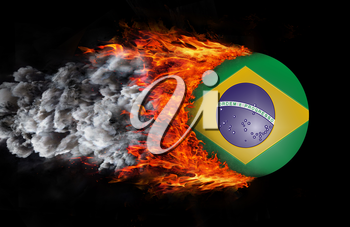 Concept of speed - Flag with a trail of fire and smoke - Brazil